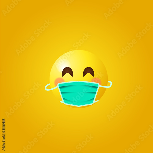 Cuadros en Lienzo Emoji with mouth mask - yellow face  wearing a surgical mask