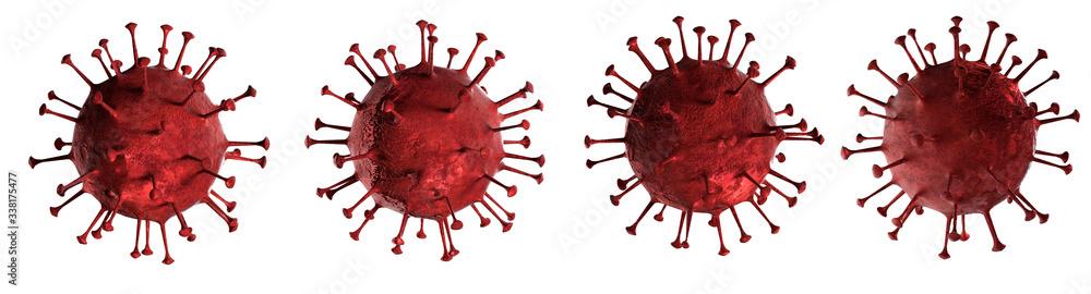 Fototapeta 3D illustration Coronavirus disease or COVID-19 virus body isolated on white background generated by 3D rendering.