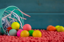 Easter Basket With Golf Balls Instead Of Easter Eggs