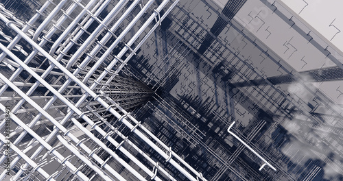 Fotografie, Tablou 3D BIM model of reinforcement framework of the building
