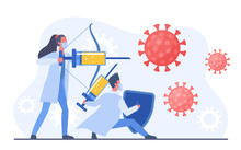 Man And Woman Doctors Fighting With Coronavirus Using Vaccine Injection Bow Prick. Virologists In Uniform Protecting People From Covid-19 Corona Virus Concept. Research Process Vector Illustration.