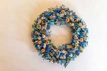 Bright Retro Vintage Antique Room Wreath Blue Dry Flower Decorations In Home House Hanging On Wall Isolated