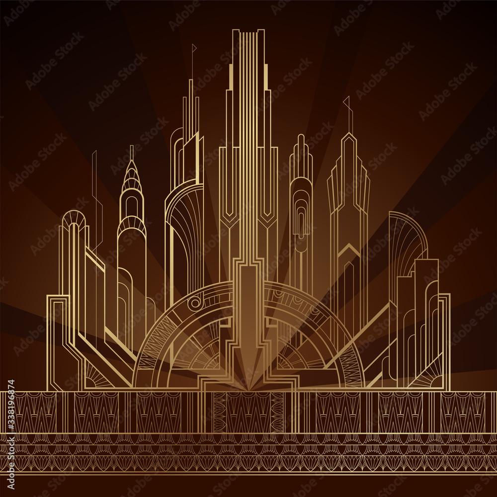 Fototapeta Stylized gold art deco illustration of the city on dark background