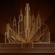 Stylized gold art deco illustration of the city on dark background