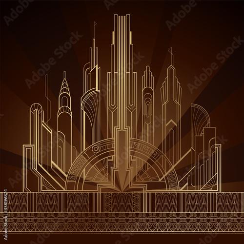 Obraz Stylized gold art deco illustration of the city on dark background - fototapety do salonu