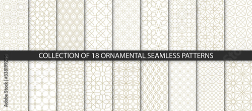 Photo Big set of vector ornamental seamless patterns