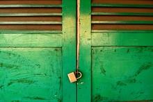 Close-up Of Closed Green Door