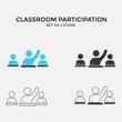 participating in classroom vector icon answering