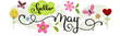 Hello May. MAY month vector with flowers and leaves. Decoration floral. Illustration month may
