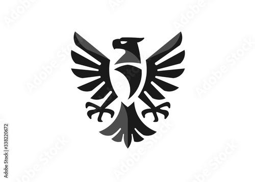 heraldic eagle symbol or falcon bird isolated emblem Canvas Print