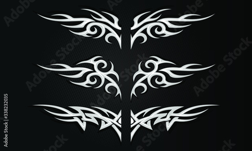 Obraz na plátně Vector illustration of isolated Tribal tattoo pattern