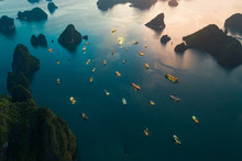 Aerial View Of Boats Sailing On Sea