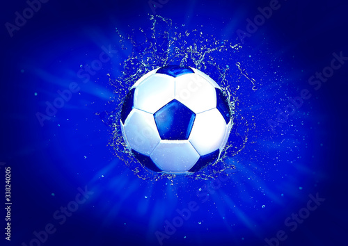 Fototapety, obrazy: しぶきを上げるサッカーボール