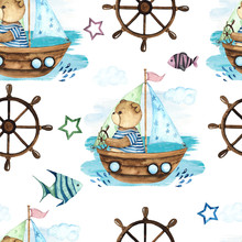 Little Sailor. Watercolor Hand Painted Seamless Pattern With Cute Teddy Bears, Boat, Sailboat, Steering Wheel, Anchor, Seagull, Binoculars, Fishes, Captain's Cap, Waves, Spray