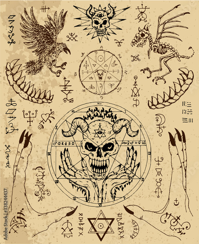 Canvas Print Vector design set with magic seals, demon face, hands, crow and skeleton