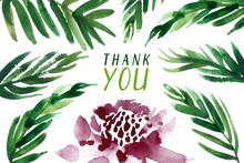 Watercolor Thank You Card. Tropical Floral Frame.