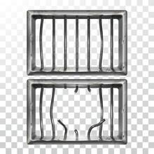 Prison Window And Broken Metallic Bars Set Vector