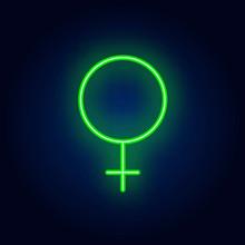 Venus Symbol Neon Sign. Glowin...