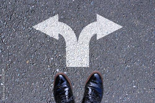 Obraz na plátně 左右の分岐点で選択肢や将来の分かれ道を考える Go left or right