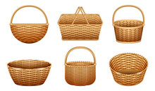 Wicker Basket Vector Realistic...