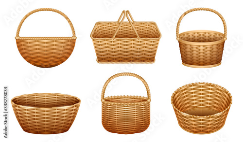 Wicker basket vector realistic set icon Fototapeta
