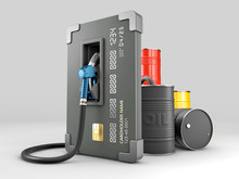 3d Rendering Of Realistic Credit With Fuel Hose Petrol Station Concept, Clipping Path Included
