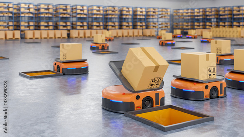 An army of robots efficiently sorting hundreds of parcels per hour(Automated guided vehicle) AGV Wallpaper Mural