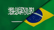 The flags of Saudi Arabia and Brazil. News, reportage, business background. 3d illustration