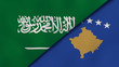 The flags of Saudi Arabia and Kosovo. News, reportage, business background. 3d illustration