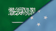 The flags of Saudi Arabia and Micronesia. News, reportage, business background. 3d illustration