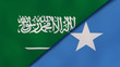 The flags of Saudi Arabia and Somalia. News, reportage, business background. 3d illustration