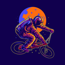 Astronaut Bmx Freestyle Jump Vector Illustration