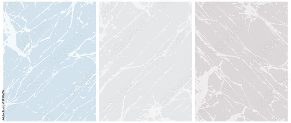 Fototapeta Set of 3 Delicate Abstract Marble Vector Layouts. Off-White Irregular Lines on a Blue and Gray Background. 2 Different Shades of Gray. Soft Marble Stone Style Art. Pastel Color Blank Set.