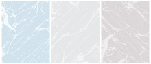 Set Of 3 Delicate Abstract Marble Vector Layouts. Off-White Irregular Lines On A Blue And Gray Background. 2 Different Shades Of Gray. Soft Marble Stone Style Art. Pastel Color Blank Set.
