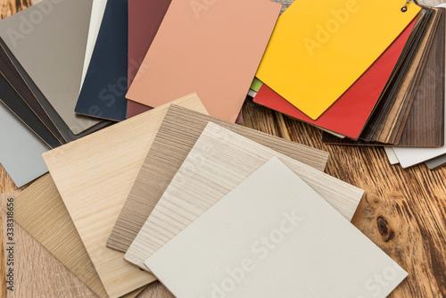 Fototapeta Sampler material texture sor furniture design interior. Floor catalog for decoration home. industry obraz na płótnie