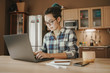 Young woman working from home during self-isolation