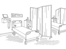 Hospital Ward Intensive Care Unit Graphic Black White Interior Sketch Illustration Vector