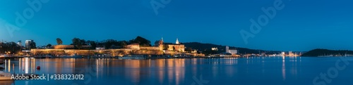 Oslo, Norway. Akershus Fortress In Summer Evening. Night View Of Famous And Popular Place. Panorama, Panoramic view