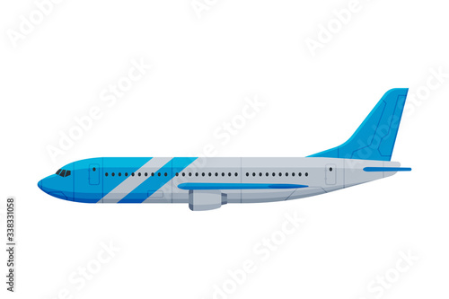 Modern Passenger Airplane, Flying Aircraft Vehicle, Side View Flat Vector Illust Fotobehang
