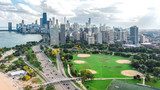 Fototapeta Miasto - Chicago skyline aerial drone view from above, lake Michigan and city of Chicago downtown skyscrapers cityscape bird's view from park, Illinois, USA