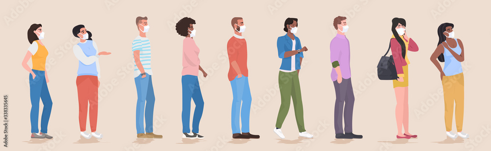 Fototapeta mix race people wearing face masks to prevent covid-19 coronavirus men women keeping 1 meter distance social distancing health care concept horizontal full length vector illustration
