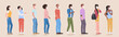 mix race people wearing face masks to prevent covid-19 coronavirus men women keeping 1 meter distance social distancing health care concept horizontal full length vector illustration