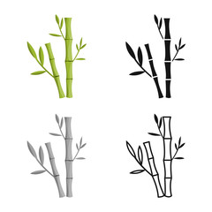 Vector design of bamboo and tree symbol. Set of bamboo and green stock vector illustration.