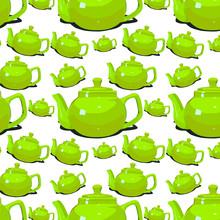 Green Ceramic Teapot For Brewi...