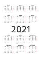 Spanish Calendar 2021 Year. Vector. Week Starts Monday. Simple Template Of Pocket Or Wall Spain Calenders. Portrait Vertical Orientation. Yearly Stationery Organizer In Minimal Design. Illustration.