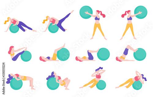 Slika na platnu Women fitness exercise ball workout posture vector illustrations.