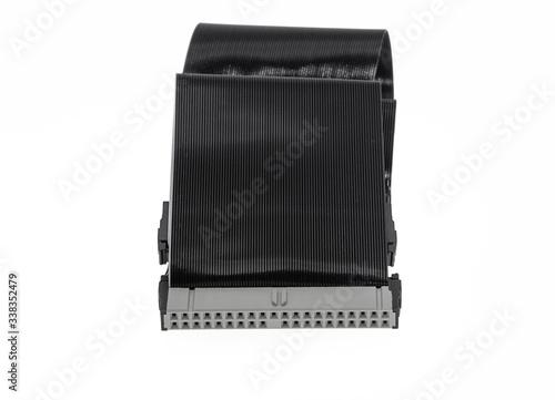 Fototapeta Czarny komputerowy kabel ATA na białym tle obraz
