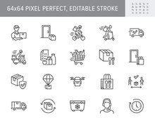 Food Delivery Line Icons. Vector Illustration Included Icon As Coutier On Bike, Door Contactless Delivering, Grocery List Outline Pictogram For Fast Distribution. 64x64 Pixel Perfect Editable Stroke