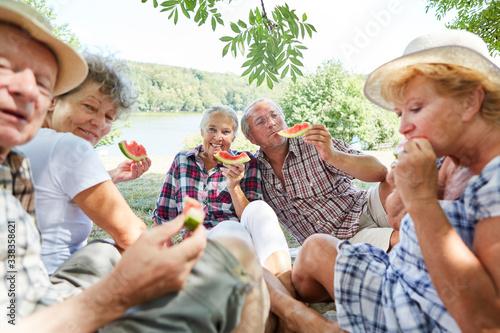 Obraz na plátně Senioren Gruppe beim Melone essen
