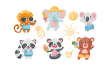 Cartoon Animals Drinking Cocktails And Eating Ice Cream Vector Set